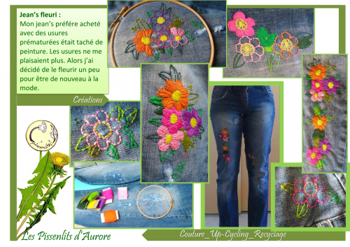 recyclage,jeans,pantalon,broderie,fleurs,fils,DMC,couture,2nde vie,up cycling,recup