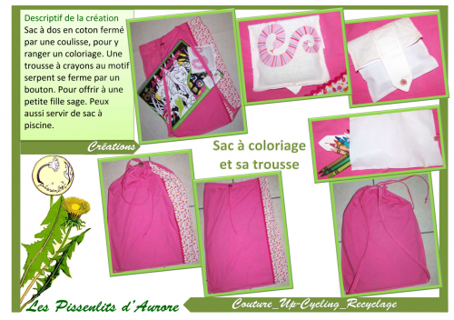 sac,coloriage,vacances,dessin,cahier,feutre,crayons,diy,couture,pissenlits,aurore,up cycling