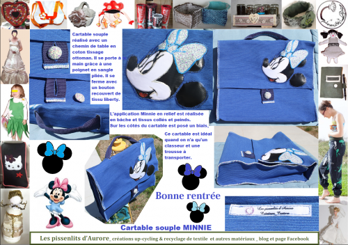 cartable, minnie, sac, ecole, fille, set, table, couture, transformatio, pissenlits, aurore, up cycling, fait, main, diy