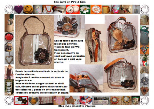 simili, cuir, PVC, transparent, couture, marron, brun, sac, cabat, fleur, bois, nature, indsutriel